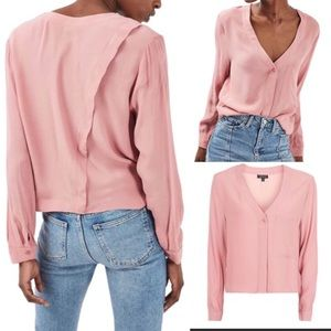 Topshop Cropped Slouch Long Sleeve Button Up